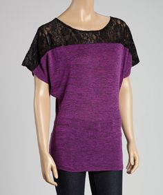 Love this Casa Lee Purple & Black Color Block Cape-Sleeve Tee by Casa Lee on #zulily! #zulilyfinds