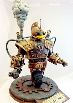 Steampunk version of Gizmoduck robot suit from Disney's animated television series DuckTales. Beautiful GIZMOduck sculpture made by American artist Tim Wollweber.