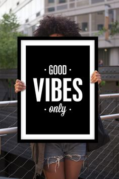 "Inspirational Poster Typography Quote ""Good Vibes Only"" Black and White Home Decor Print Minimalist Letterpress Handwriting Style Wall Art"