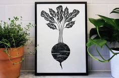 Beetroot Lino Print, Handprinted Linocut, Vegetable Print, Kitchen Art, Mothers Day Gift, Gifts for Chef, Vegetable Art