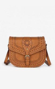 Cognac lasercut crossbody saddle bag