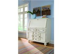 Shop for Hammary Drop Lid Work Station, 920-945, and other Home Office Desks at Americana Furniture Barn in Waterford, CT. Drop Down Door, LSF: 2 Drawers, Divided Compartment, Opening: W5 D13 H5, Center: 1 Adjustable Shelf, Opening: W14 D13 H16, Power Bar, Wire Management, RSF: 1 Drawer, Divided Compartment, Opening: W3 D13 H10, 4 Drawers, 2 Doors with Removable Shelf Behind each, Wire Management, File Storage in Bottom Center Drawer.