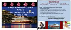 Fireworks Dinner Cruises every Tuesday and Thursday in Destin Fla and Father's Day Lunch Cruise