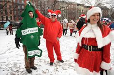 SantaCon draws thousands of participants, who dress up in Santa outfits and other festive gear and party in the streets. The event started in San Francisco in 1994, but has inspired copycat events in cities around the world.