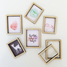 Get your dollhouse decorated with this set of mini wooden picture frames and prints! Set includes 1 small wooden frame and 1 large wooden frame, as well as a selection of on-trend prints made mini! Images are printed on high quality textured Canvas Paper, ready to be cut out and glued to the back of the frames. The frames are easy to customize with acrylic paint to suit your decor! Small frame measures 3.1cm x 4.1cm (outside) Large frame measures 3.6cm x 4.6cm (outside) Set includes one of…