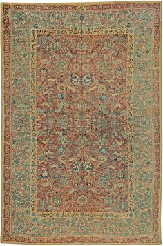 A Persian Tabriz carpet Size: Stair Rug Runner, Carpet Size, Tabriz Rug, Hallway Carpet Runners, Green Carpet, Floral Rug, Grey Rugs, Persian Carpet, Rugs On Carpet