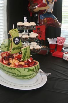 Pirate Ship from watermelon. This would go well for a birthday parth with a Pirates Delight treasure adventure story.