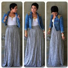 skirt jacket gray skirt maxi skirt denim jacket studded jacket