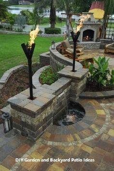 Checking Out Patio Area Layouts – Outdoor Patio Decor Backyard Patio Designs, Diy Patio, Backyard Landscaping, Landscaping Ideas, Outdoor Fireplace Designs, Backyard Fireplace, Patio Ideas With Fireplace, Outdoor Kitchen Design, Outdoor Kitchens