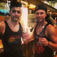 Just look at these two cuties keepin' it classy.  (Dustin Bates and Ron DeChant of Starset)