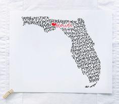 Florida Illustration Print by ManayunkCalligraphy on Etsy https://www.etsy.com/listing/225701288/florida-illustration-print