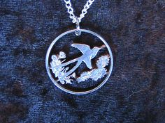 Oklahoma state quarter cut coin necklace Bird ,flowers on Etsy, $27.72 AUD