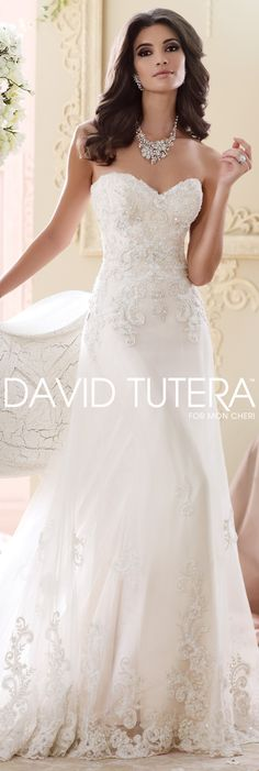 The David Tutera for Mon Cheri Fall 2015 Wedding Gown Collection - Style No. 215267 Nala #laceweddingdresses
