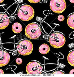 stock-photo-watercolor-seamless-pattern-bicycles-with-donuts-wheels-colorful-summer-background-original-hand-562305916.jpg 450×470 pixels