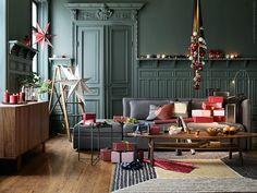 VALLENTUNA soffa kombination klädsel HILLARED mörkgrå, STOCKHOLM soffbord i valnötsfanér.