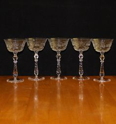 Lovely, Set of 5, Vintage Crystal, Floral Etched and Cut, Optic Cordial Glasses
