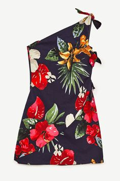This floral asymmetric mini dress from Zara is the perfect going out look for upcoming warmer nights.
