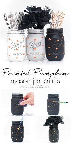 Painted Pumpkins on Mason Jars - Fall Mason Jar Craft with Mason Jars - Pumpkin Crafts with Paint