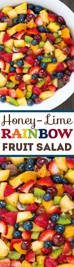 Honey Lime Rainbow Fruit Salad – perfect use for all the fresh summer fruit! Lov… Honey Lime Rainbow Fruit Salad – perfect use for all the fresh summer fruit! Love that the dressing compliments the fruit rather then overwhelms it. Healthy Snacks, Healthy Eating, Healthy Recipes, Healthy Fruit Salads, Veggie Salads Recipes, Simple Salad Recipes, Summer Vegetarian Recipes, Clean Eating Salads, Dessert Healthy