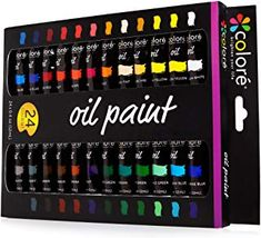 Colore Oil Paint Set Perfect For Use On Landscape And Portrait Canvas Paintings Great For Professional Artists Students & Beginners - Set Of 24 Richly Pigmented Oil Paint Colors 24 Color Set Oil Paint Set, Acrylic Paint Set, Acrylic Colors, Paint Colors, Clear Acrylic, Large Painting, Artist Painting, Rock Painting, Watercolor Painting