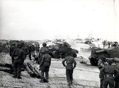 [Photo] Sherman tanks and men of the Canadian Infantry Brigade landing on a crowded beach at Courseulles-sur-Mer, Normandy, France, 6 Jun 1944 Canadian Soldiers, Canadian Army, Canadian History, British Army, D Day Normandy, Normandy France, Royal Canadian Navy, Normandy Invasion, Juno Beach