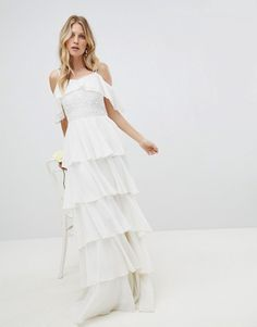Amelia Rose Pleated Tiered Cold Shoulder Maxi Dress boho bohemian affordable wedding gown