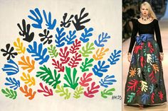 Fashion designer Yves Saint Laurent looked to Matisse's cutouts for his fall/winter 1980 haute couture collection. His black velvet and moiré faille evening dress with multicolor satin appliqué leaves was inspired by The Sheaf (shown).