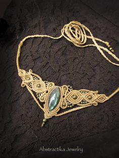 Tiara- necklace with labradorite gemstone. Goddess tiara, macrame jewelry, princess, romantic jewelry, macrame jewelry, earthy, steampunk.