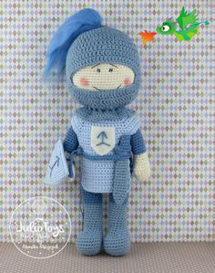 This is a crochet pattern PDF - NOT the actual finished doll at the photos! The pattern is available in ENGLISH (US terminology) Once purchased you´ll receive your pattern as attachment in your mail (or in your Conversation´s section on Etsy) in a few hours maximum (depends on time zone) The pattern include tutorial how to do crochet knight , tunic, helmet, sword andshield. Material necessary - see the last picture in gallery I do not give permission for the commercial use of my patterns...