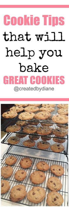 cookie-tips so you can produce great cookies each and every time you bake cookies. drop cookie recipes, chocolate chip cookies, cookie baker-from-www-createdby-diane-com Cookie Tips, Best Cookie Recipes, Best Dessert Recipes, Fun Desserts, Sweet Recipes, Delicious Desserts, Yummy Food, Cookie Swap, Cake Recipes