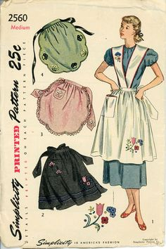 1940s Apron Pattern Bust 34 36 Simplicity 2560 by CynicalGirl