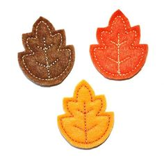 Fall has arrived and the leaves are changing colors. These felt leaf appliques are perfect for hair clippies, bow centers and scrap booking pages.