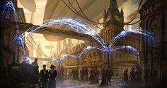 A wondrous Teslapunk city! Illustration by Eddie Mendoza, http://eddie-mendoza.deviantart.com/art/Tesla-City-505264910