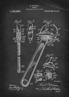crescent wrench peterson vintage patent illustration