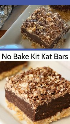 No bake Kit Kat Squares! There is a wafer cookie crust on the bottom, layered next with a chocolate and condensed milk, and topped with a kit kat crumbs. No baking required-- just the microwave and the refrigerator make these beauties! Smores Dessert, Kit Kat Dessert, Coconut Recipes, Baking Recipes, Cake Recipes, Dessert Recipes, Easter Recipes, Kit Kat Cookies, Wafer Cookies