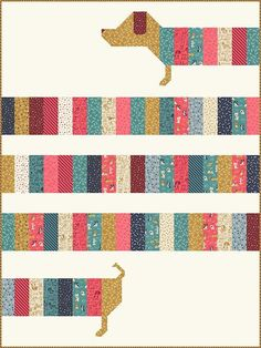 Alles eingewickelt Quilt Pattern – Stacy Iest Hsu # – Dackel Quilt Pattern, Hund Quilt Pattern - My Quilt Ideas Jellyroll Quilts, Scrappy Quilts, Easy Quilts, Patchwork Quilting, Amish Quilts, Denim Quilts, Crazy Quilting, Quilting Fabric, Dog Quilts