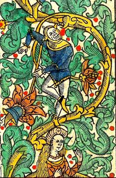 A dancing court jester in one of the frontispiece borders. Polonsky Foundation Digitization Project. British Library