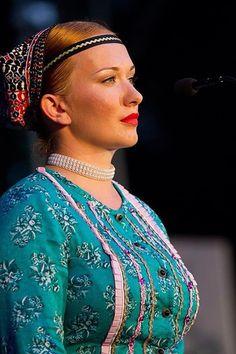 "pocarovna: "" Folk costume from Eastern Slovakia worn by the singer of folklore ensemble Železiar. """