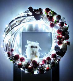Christmas wreath #owl #lights #christmas #frontdoor