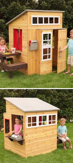Modern outdoor playhouse - I would have LOVED this dream cubby house as a kid! #kidsoutdoorplayhouse