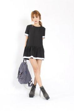 End Flare Color Block Dress in BlackBACK ORDER