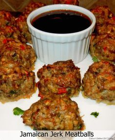 Jamaican Jerk Pork & Beef Meatballs - These Jamaican jerk meatballs are a fantastic way to enjoy Caribbean flavors as an appetizer. They're a taste of simple island goodness when served with a Caribbean sauce for dipping. Jamaican Cuisine, Jamaican Dishes, Jamaican Recipes, Jamaican Appetizers, Guyanese Recipes, Meatball Recipes, Beef Recipes, Cooking Recipes, Healthy Recipes