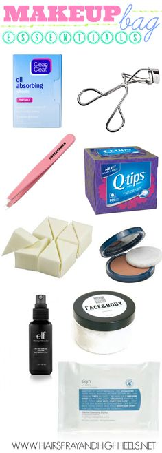 Makeup Bag Essentials. Most of these are a must! :)