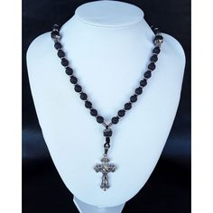 The Cross Orthodox (v. elite Rosary made of high quality Volcanic Lava stone directly extracted from Mt Vesuvius, 925 Pure Silver, Hematite and a Stainless Steel Cross of our Christ. Ancient Greece, Stone Beads, 50th, Beaded Necklace, Pure Products, Pattern, Silver, Handmade, Inspiration