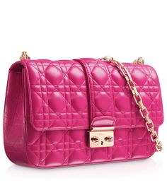 """Rose Royale leather """"Miss Dior"""" bag A unique icon, the """"Miss Dior"""" collection is distinguished by a versatile and contemporary look. In Rose Royale lambskin, the bag is accessorised with a pale gold-tone metal chain to be worn on the shoulder or across the body"""