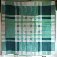 "Fun ""Emerald Plaid"" quilt by Sarah of No Hats in the House using her self-drafted ""plaid {math} quilt pattern"" - FREE pattern available at link."