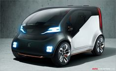 The recently developed 2017 Honda NeuV Concept will be powered by the pure electric power.,,This model will also provide helpful AI assistant named HANA. Ford Focus Electric, Electric Cars, Electric Power, Kia Soul, Nissan, Microcar, Concept Motorcycles, Upcoming Cars, Car Design Sketch
