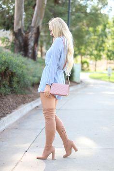 Blue Crochet Romper Outfit