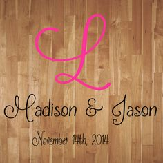 Wedding Monogram Dance Floor Decal Reception Vinyl Wall Decal Lettering Decor Free Shipping BUY 2 GET 1 FREE-see shop for details