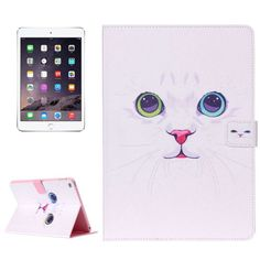 For+iPad+mini+4+White+Cat+Pattern+Horizontal+Flip+Leather+Case+with+Holder,+Card+Slots+&+Wallet